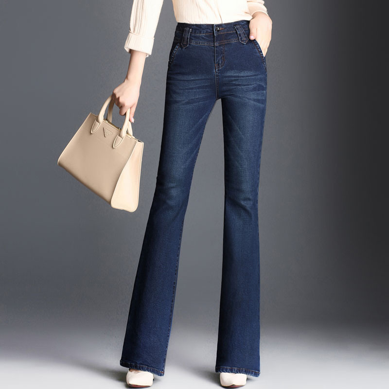 2018 New Women Boot Cut Jeans Long Stretch Blue Wide Leg Zipper Washed Retro Trousers For Autumn Winter Flare Jeans Big Size 1