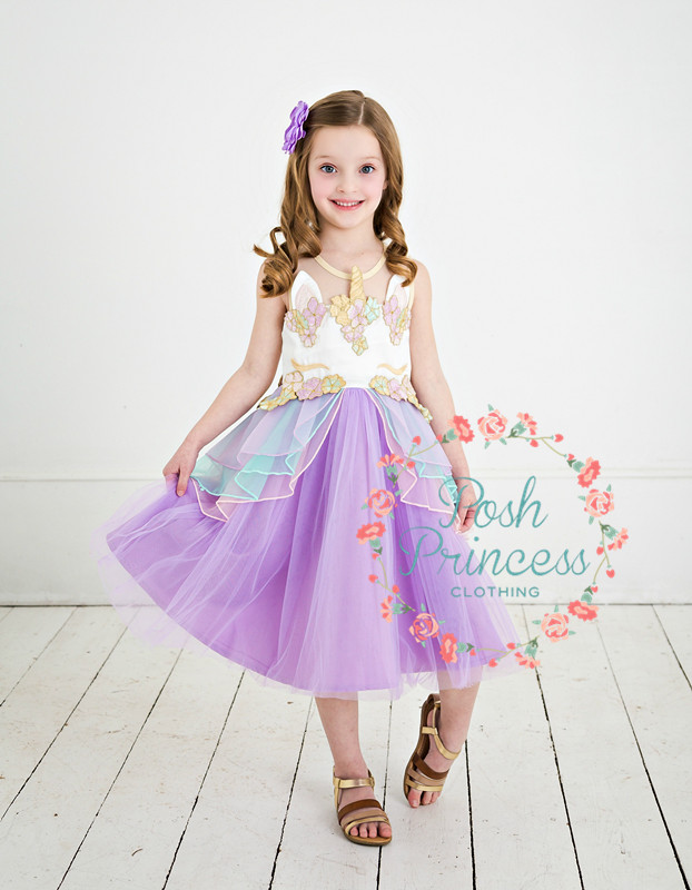 Sale !!2018 NEW !! Unicorn girl dress / Embroidery flower /Botique girl dress ! Ready to ship !