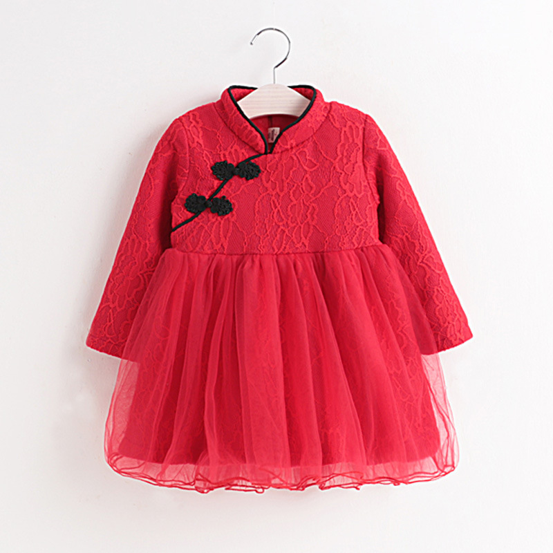China Style Cheongsam Mesh Patchwork Dress Baby Winter Long Sleeve Christmas New Year Clothing Toddler Princess Baby Red Dresses 3 4 sleeve mesh patchwork lace dress