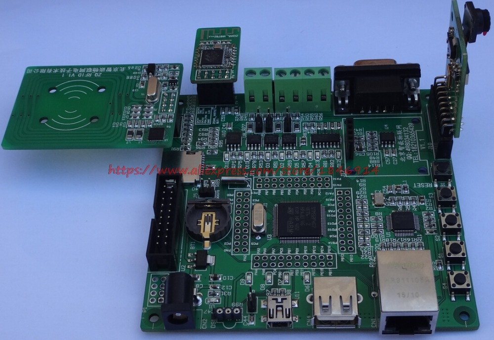 Free Shipping   STM32F207WIFI Development Board \W8782\ Ethernet And Internet Of Things \RC522\W5500 Development