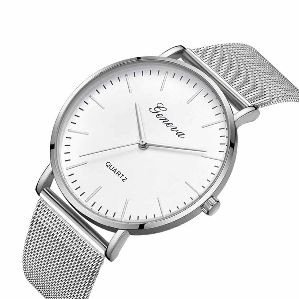 Fashion Casual zegarki damskie mężczyźni klasyczny zegarek kwarcowy nadgarstek ze stali nierdzewnej bransoletki z zegarkiem czarny biały Dial Case 2019