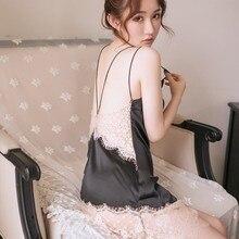 Women Sexy Deep V-neck Nightdress Backless Floral Lace Satin Mesh Nightgown Summer Sleepwear