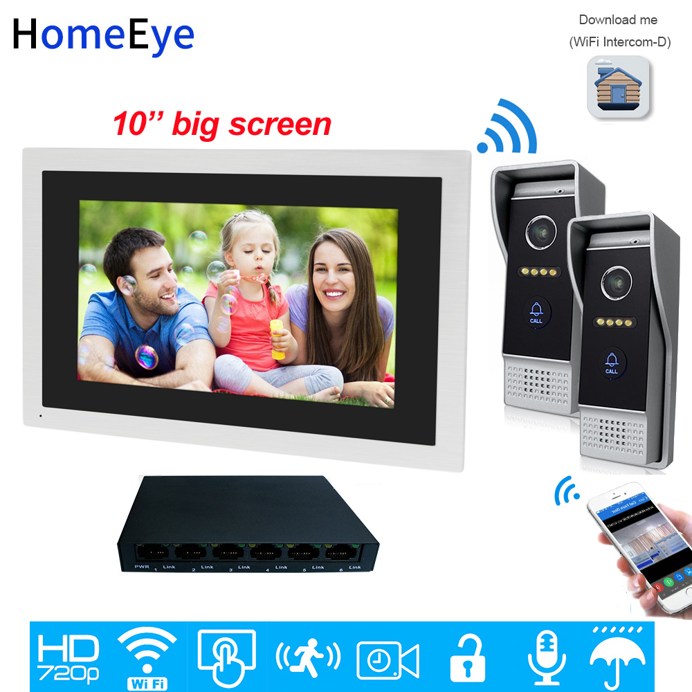 720P HD 10inch Touch Screen WiFi IP Video Door Phone Video Intercom 2 Doors Home Access Control System Mobile App Remote Unlock