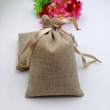 50 stks RUIHAOYU Natuurlijke Jute Koord Gift Bags Jute Gift Snoep Verpakking Zak Wedding Party Favor Pouch Baby Shower Benodigdheden