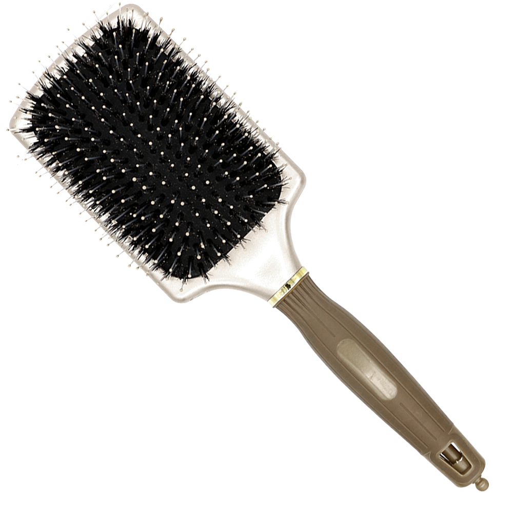 Free Shipping Square Paddle Brush In Gold Boar Bristle Hair Brush With Nylon Tip In Air  ...