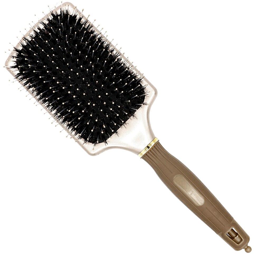 Kostenloser Versand Platz Paddle Brush In Gold Wildschwein Borsten Haarbürste mit Nylon Spitze In Air Paddel Salon Haarverlängerung Pinsel Y-8