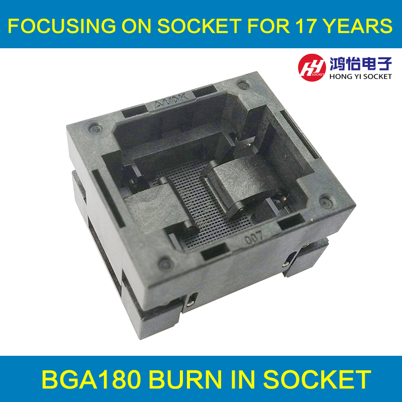 BGA180 OPEN TOP burn in socket pitch 0.65mm IC size 11*13mm BGA180(11*13)-0.65-TP01NT BGA180 VFBGA180 burn in programmer socket bga80 open top burn in socket pitch 0 8mm ic size 7 9mm bga80 7 9 0 8 tp01nt bga80 vfbga80 burn in programmer socket