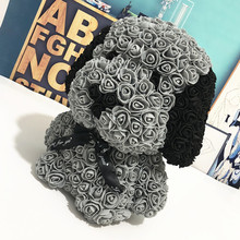40cm Rose Pug Dog Fashion Creative Gift New Eternal PE Bubble Rose Tanabata Valentine's Day Handmade Soap Flower PE Flower Puppy