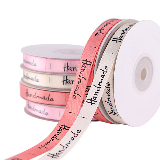 3/8 ''(10mm) 25 מטרים בעבודת יד מודפס פוליאסטר סרט עבור קשת מסיבת חתונת קרפט DIY קישוט אביזרי אריזת מתנה