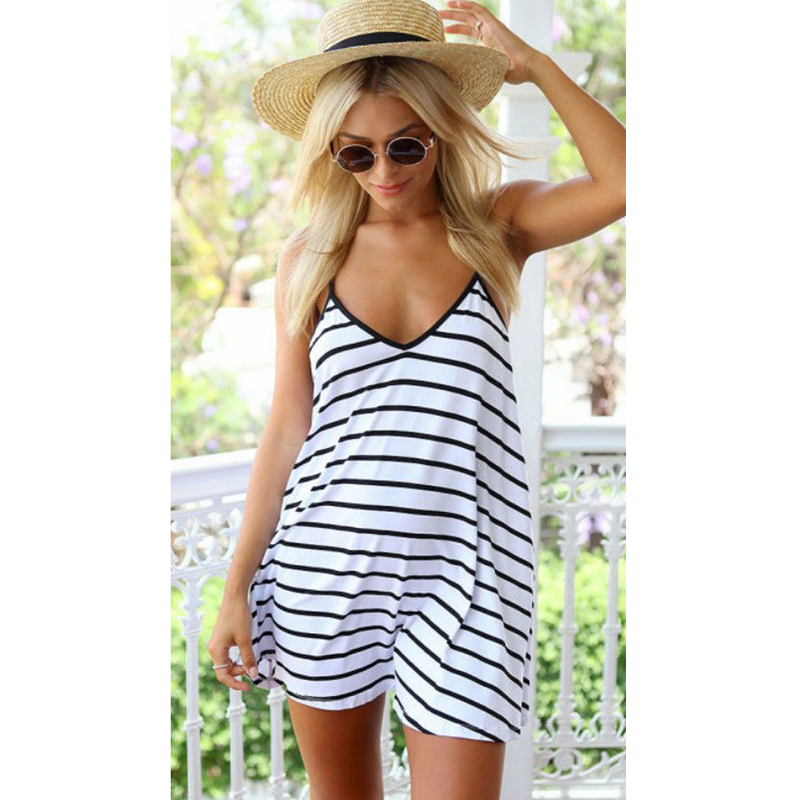 2019 Summer Women's Striped <font><b>Dress</b></font> Loose V-neck <font><b>Halter</b></font> Slip Beach <font><b>Dress</b></font> <font><b>Sexy</b></font> Party Ladies Black and White <font><b>Dress</b></font> Vestidos de fiest image