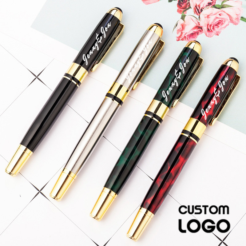 1set Metal Fashion Signature Pen Business Gel Pen Advertising Gift Pen With Gift Box Custom LOGO Carving Name Student Stationery in Ballpoint Pens from Office School Supplies