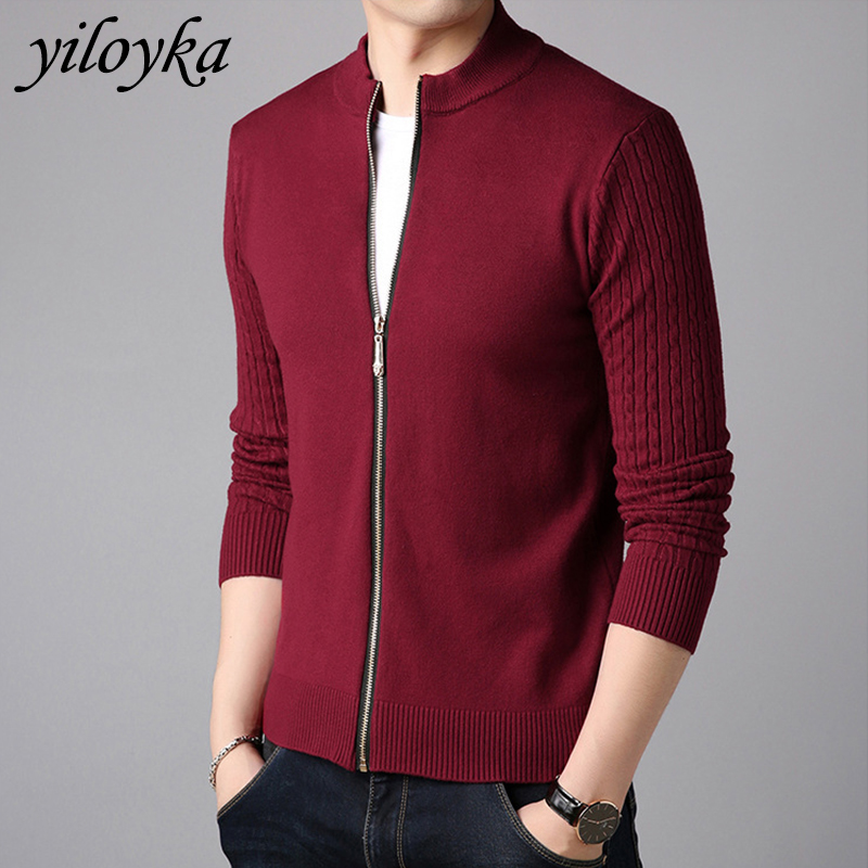 Autumn Winter Men's Sweater Coat Wool Sweater Jackets Men Zipper Knitted Thick Coat Casual Knitwear Fashion Tops  High Quality