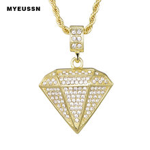 Dimensional Triangle Pendant Sweater Chain Crystal Stone Three Dimensional Shape Of Bling Bling Necklace Hip Hop Necklace(China)