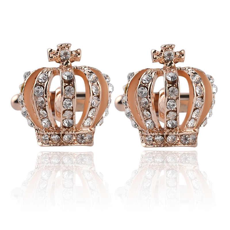 Модный тренд женский элегантный Леди Полный Стразы ювелирные изделия позолоченный Золотой Серебряный Корона французские запонки мужские украшения