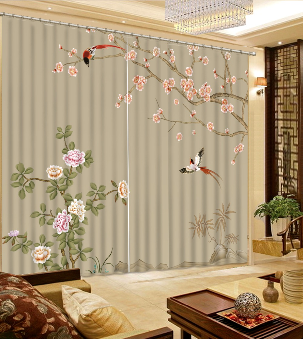3D Curtain Modern Living Room Curtains Depicting Colored Flowers Birds Home Curtains Decoration Bedroom Blackout Curtain