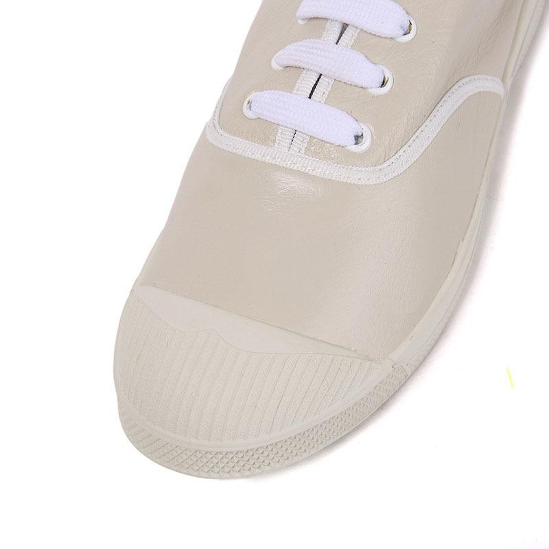À Occasionnel Cuir Fond Chaussures De Littéraire En Fan Tête Plat Et Femmes D'été Ronde Printemps Blanc IqXfFc