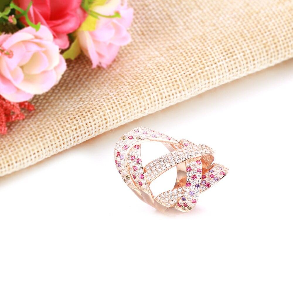 TKJ luxe grand remontage géométrie croisée zircone cubique CZ rubis pierres précieuses anneaux pour femmes mariage Dubai mariée bague bijoux - 2