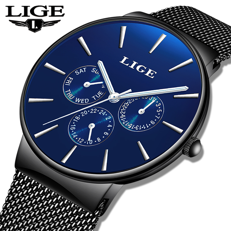 reloj hombre <font><b>2019</b></font> LIGE Top Brand <font><b>Luxury</b></font> <font><b>Men</b></font> <font><b>Watches</b></font> Waterproof <font><b>Ultra</b></font> <font><b>Thin</b></font> Date Wrist <font><b>Watch</b></font> Male Mesh Strap Casual Quartz Clock image