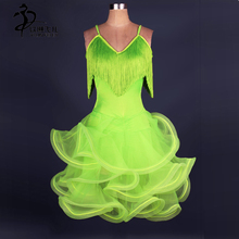 Sexy sleeveless Latin Dance Dress for women V-neck salsa tango mini skirt Ballroom Competition Tassel Dance costumes ladies