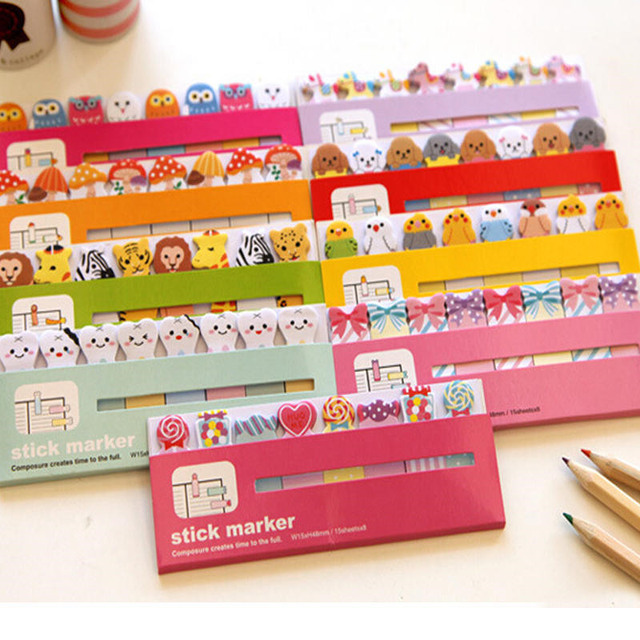 120 Pages hot sales Owl Sticker Post It Bookmark Point Marker Memo Notepad Sticky Notes