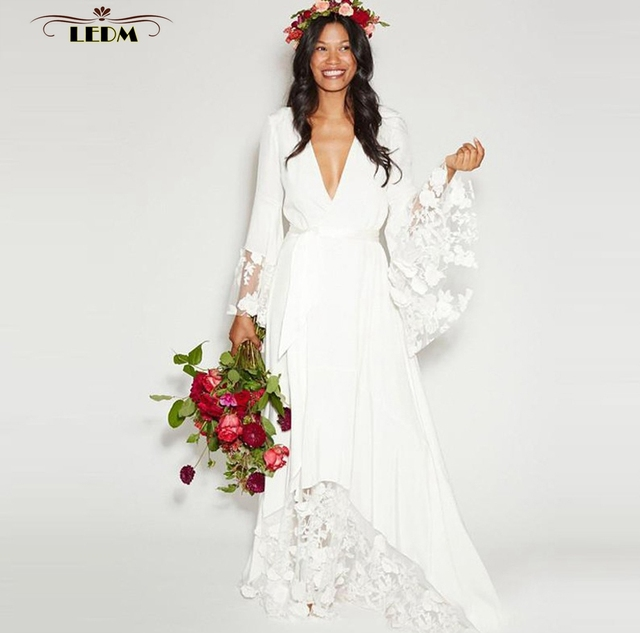 Vestido De Noiva2017 New Sexy V Neck Lace Long Sleeve White Boho Wedding Dress Cheap