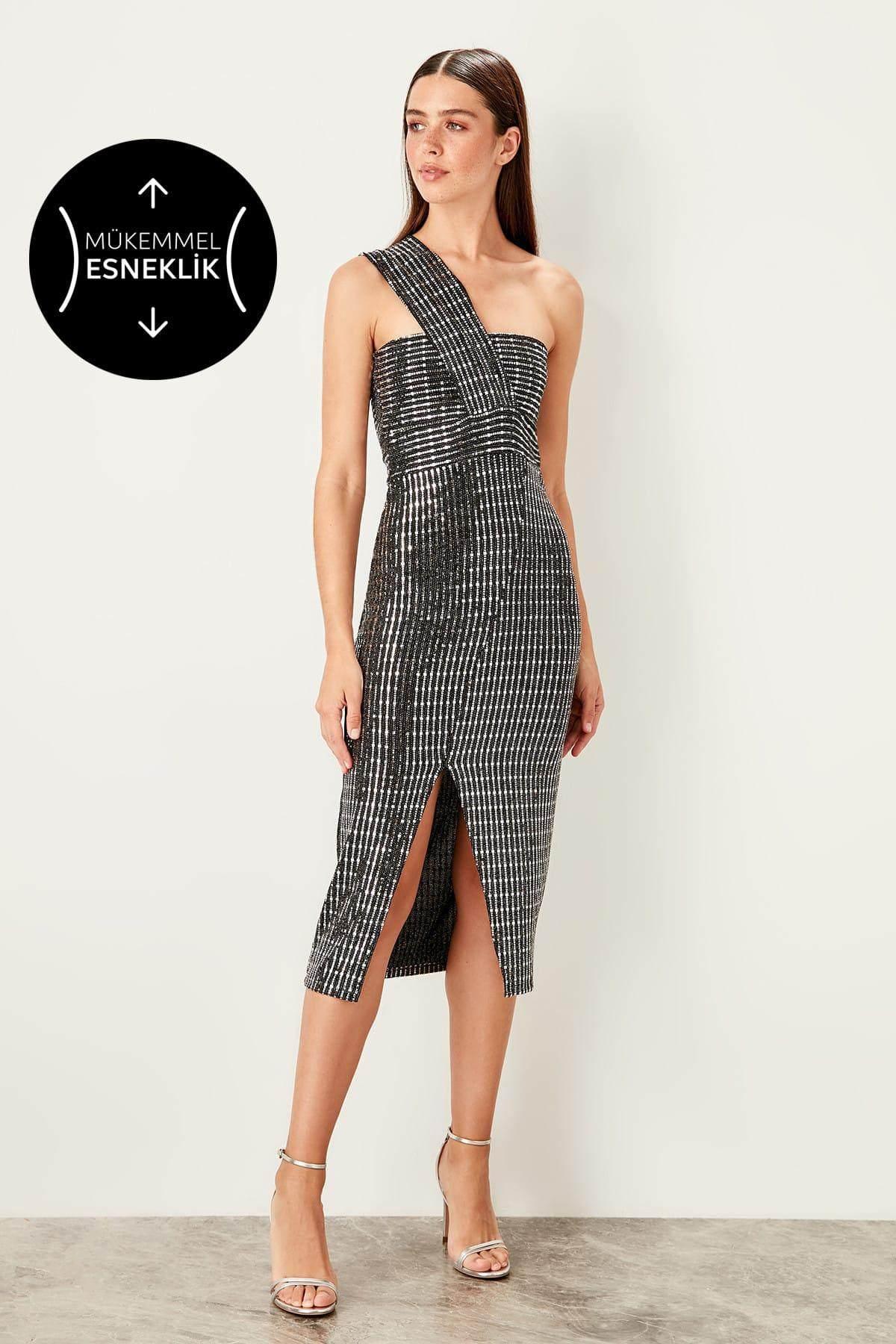 01df95fca0 Trendyol Gray Halter Dress TPRSS19BB0288