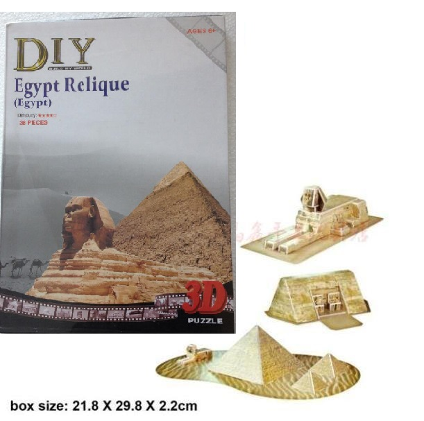 Candice guo 3D puzzle paper model DIY toy creative kid gift ancient domain egypt relique Egyptian pyramids building 3pcs/set box