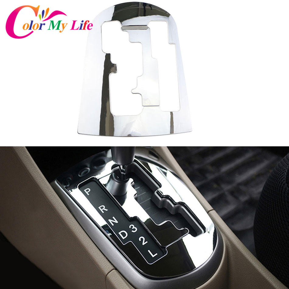 Color My Life ABS Chrome Trim Car Gear Head Sticker Style Gear Shift Cover for Hyundai Solaris Verna AT LHD Car Accessoriess цена