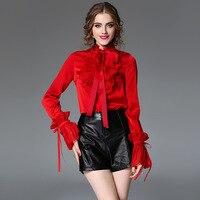 red chiffon blouse 5xl shirts casual bohemian women's blouses and tops ladies summer haute 2019 fashion top lotus trim slim