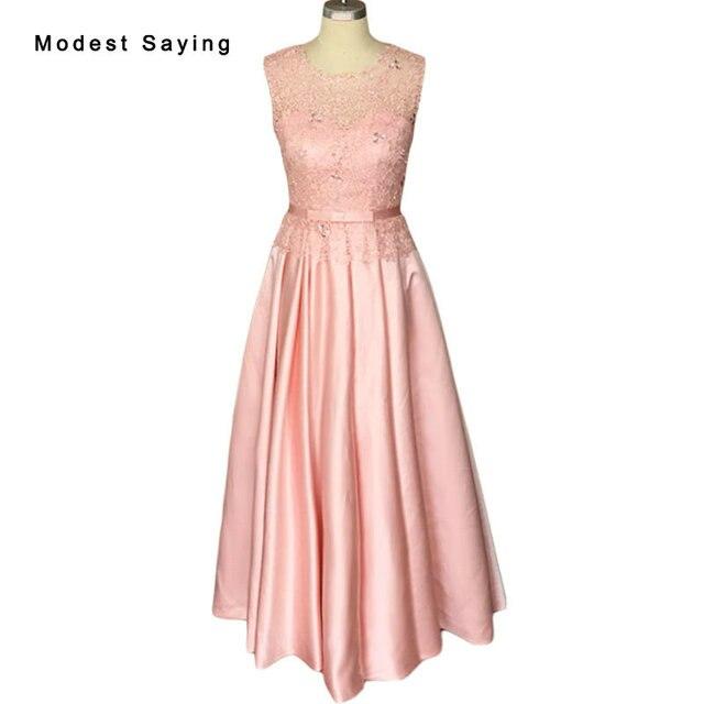 Atractiva elegante una línea rosa cristal satinado Encaje Vestidos ...