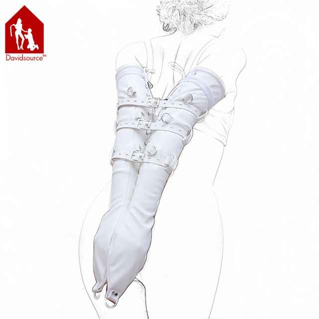 Davidsource White Leather Sleeves Hands Restraint Kit Lace-Up Style Lockable Adjustable Belt Slave Fetish Bondage Sex Toy