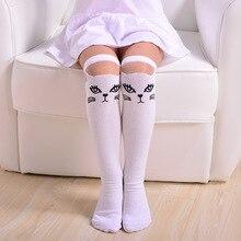 Baby Socks for Girls 3-15 Years Kids Black White Cartoon Cat Knee-high Socks Girls 90% Cotton Soft Socks for Autumn Spring 282B