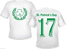 лучшая цена St.Patrick's Day T-Shirt - Cloverleaf Pattern - White - Ireland Irish 17.3