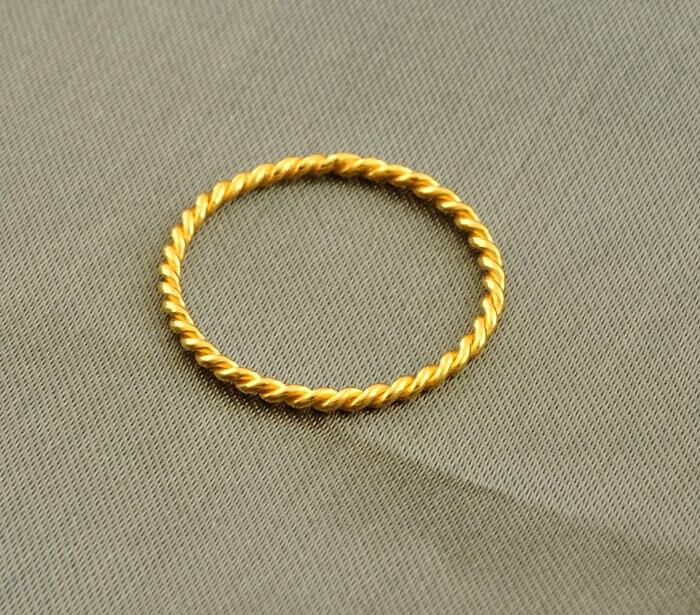 Nouveauté 999 24 K or jaune corde anneau taille américaine 4.5