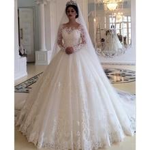 ערב הסעודית לבן שנהב חתונת שמלת 2021 כדור שמלת אפליקציות תחרה אלגנטיות ארוך שרוול כלה שמלות Vestido דה Noiva