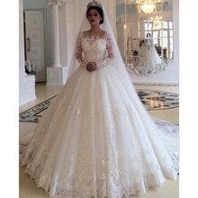 Saudi Arabië Wit Ivoor Trouwjurk 2021 Baljurk Elegant Kant Applicaties Lange Mouwen Bruidsjurken Vestido De Noiva