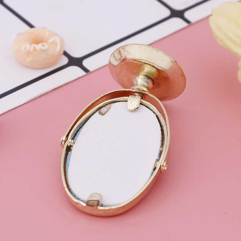 1/12 Bonecos Em Escala Mini Espelho de Metal Gloden Vaidade Mobília Do Banheiro Acessórios Do Brinquedo Casa de Bonecas Em Miniatura Do Vintage