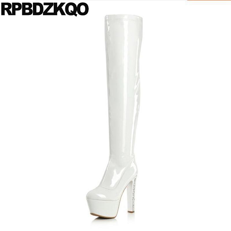 Dance Winter Black Long Extreme Thigh High Thick Rhinestone Fetish Slim White Platform Boots Shoes Women Heel Over The Knee Sexy women over the knee boots black velvet long boots ladies high heel boots sexy winter shoes chunky heel thigh high boots