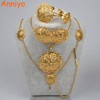 Anniyo Ethiopian New Jewelry Sets For Women Habesha Necklaces Earrings Bangle Rings Hair Piece African Wedding