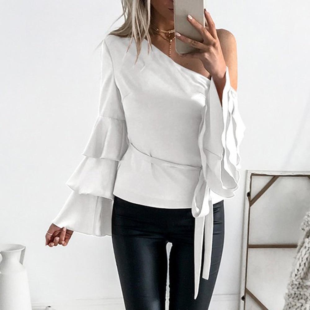 Women Autumn Off Shoulder Long Lotus Sleeve Shirts Loose Tops Festivals Classics Comfort Elegance Blouse