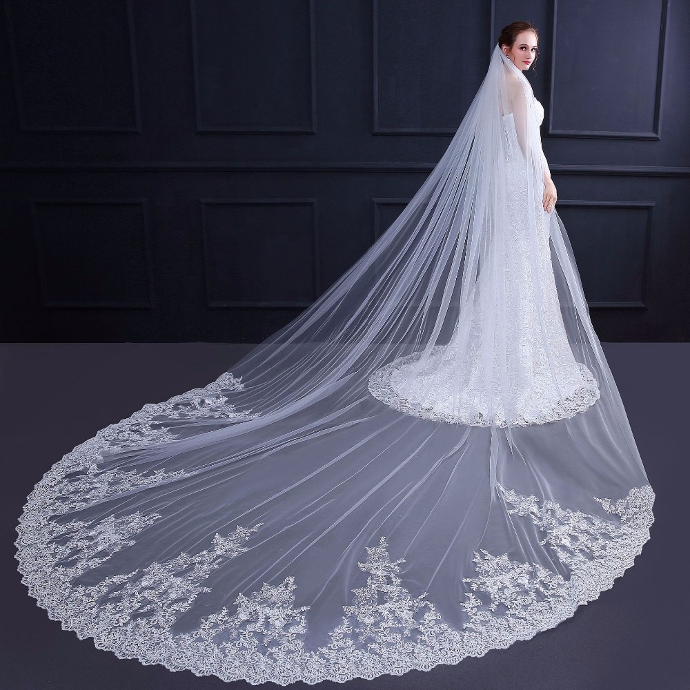 2018 Real Photos Bridal Veil  High Quality 1Tiers  Cathedral Lace Wedding Veil with Comb New