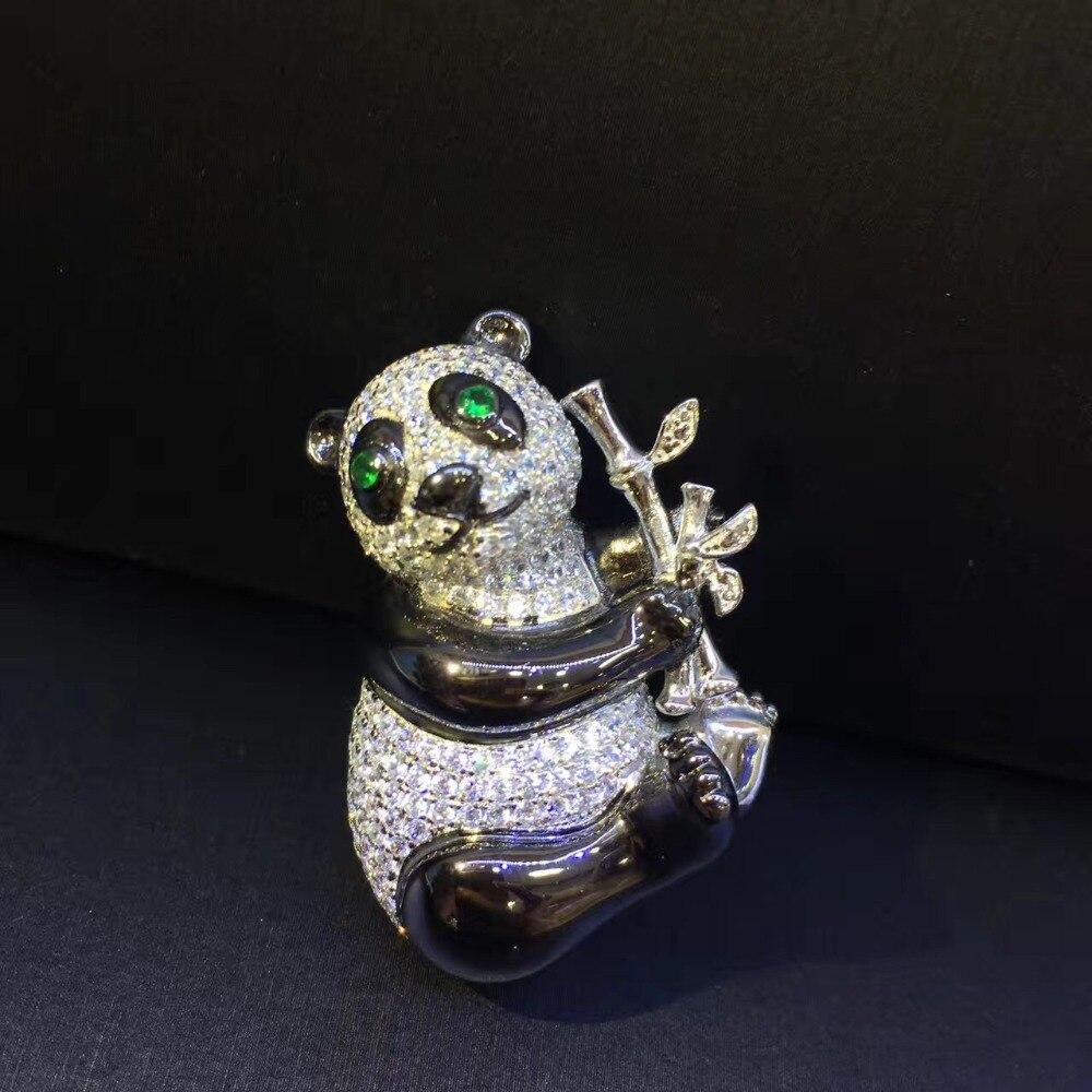 Mignon unisexe 925 en argent sterling avec zircon cubique panda broche broches hommes femmes bijoux mode livraison gratuite