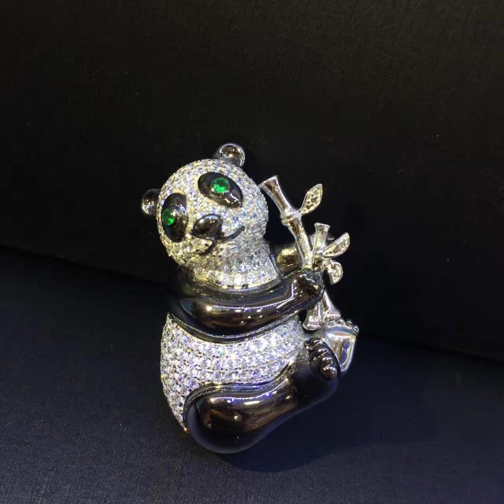 cute unisex 925 sterling silver with cubic zircon panda brooch pins men women jewelry fashion free shipping cute unisex 925 sterling silver with cubic zircon panda brooch pins men women jewelry fashion free shipping
