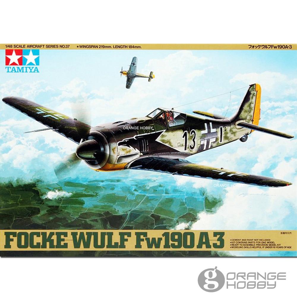 OHS Tamiya 61037 1/48 Focke Wulf Fw190 A3 Assembly Airforce Model Building Kits цена