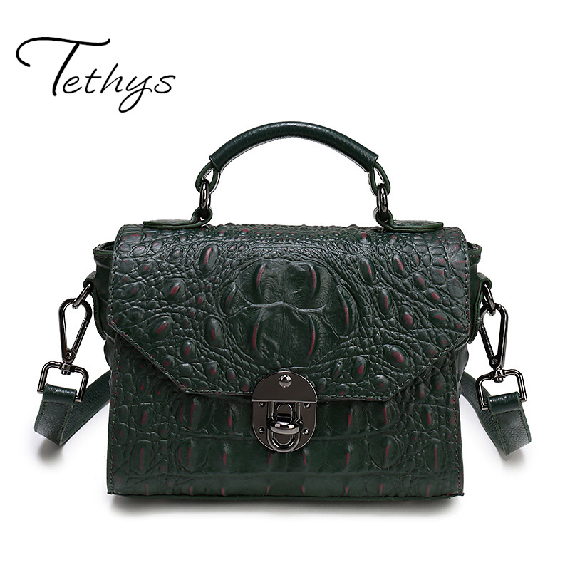 ФОТО 2017 New Arrive Tethys Brand Bag Female Women's Genuine Leather Handbag Trunk Totes Alligator Bag Designer Handbags High Quality