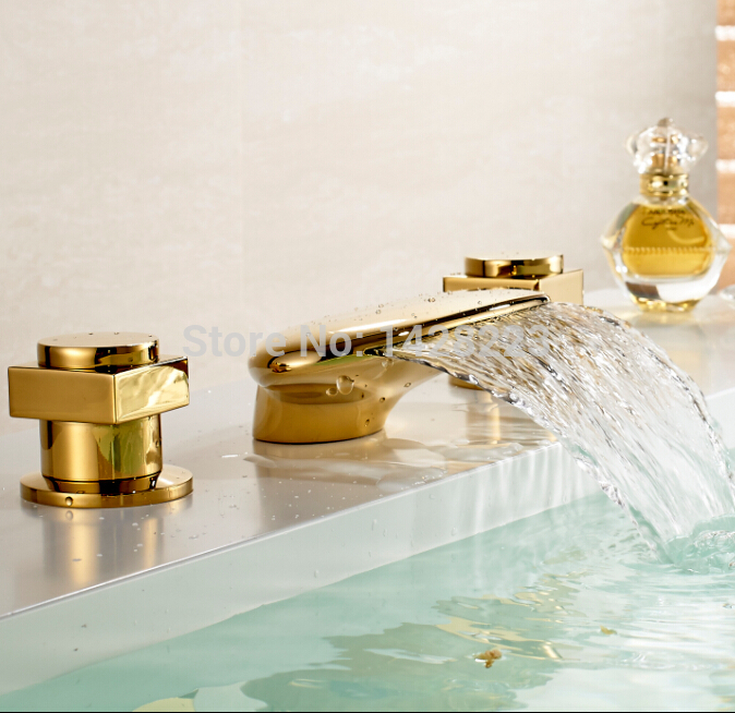 Polished Gold Deck Mounted Bathroom Sink Faucet Waterfall Spout Dual Handles Three Holes chrome polished bathroom sink faucet 3pcs double handles three holes basin faucet deck mounted