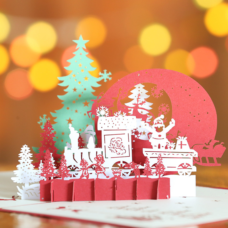 3D Popup Christmas Eve Greeting Cards Handmade Paper Card Christmas ...