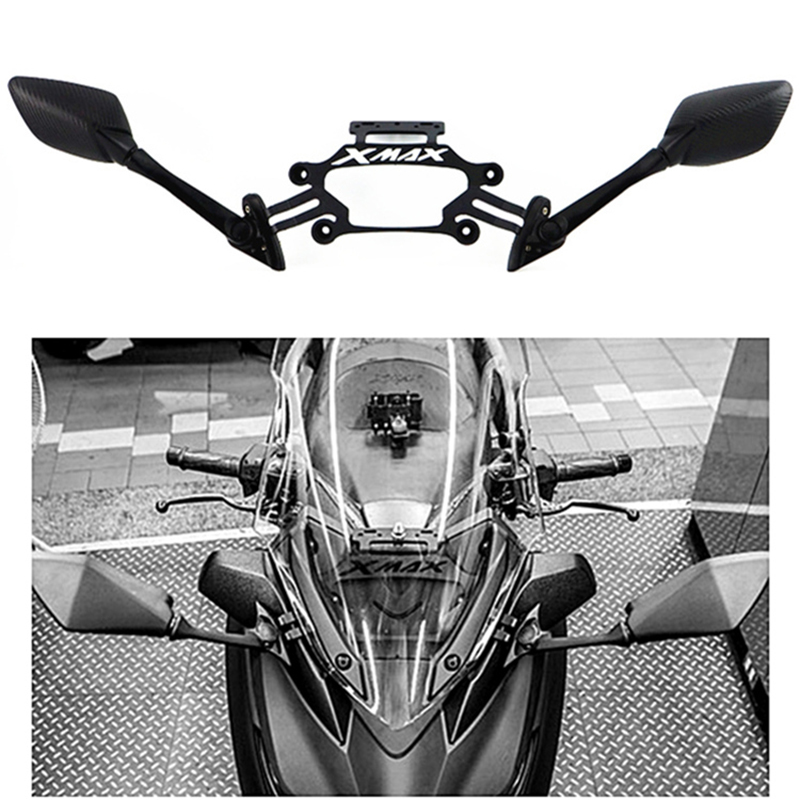For Yamaha XMAX X-max 250 300 Motorcycle CNC Aluminum Front Stand Holder Mobile Phone Bracket GPS Plate Bracket Mirrors Modified