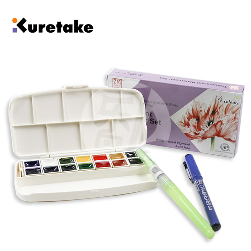 Free shipping Japan KURETAKE soluble watercolor pigments 14 color materials with needle pen