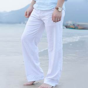 Puimentiua Mens Cotton Linen Trousers Casual Male Pants